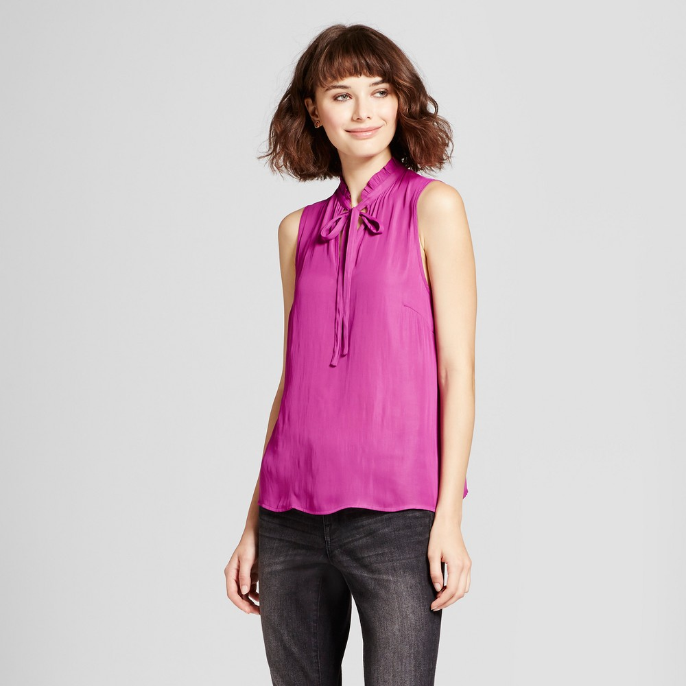 Womens Ruffle Neck Tank Top - Mossimo Pink L