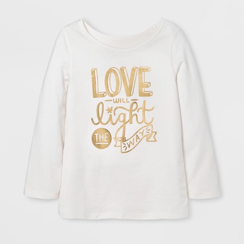 Toddler Girls Adaptive Long Sleeve Adaptive T-Shirt - Cat & Jack Almond Cream 5T, White