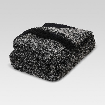 Faux Fur Throw Blanket - Black - Threshold™