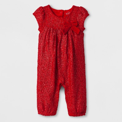 Baby Girls' Lace Romper - Cat & Jack™ Red/Silver 3-6 M
