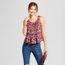 Women's Printed Pintuck Tank - A New Day™ Cherry