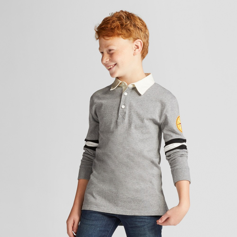 Boys Polo Shirt - Cat & Jack Heather Gray M