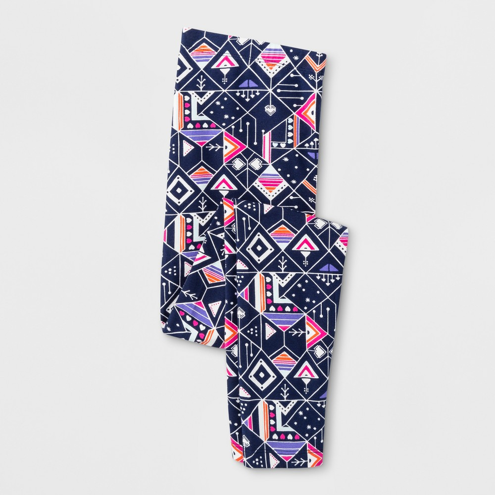 Girls Favorite Printed Leggings - Cat & Jack Navy M, Blue