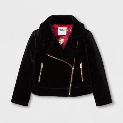Toddler Girls' Velvet Moto Jacket - Genuine Kids™ from OshKosh® Black 4T