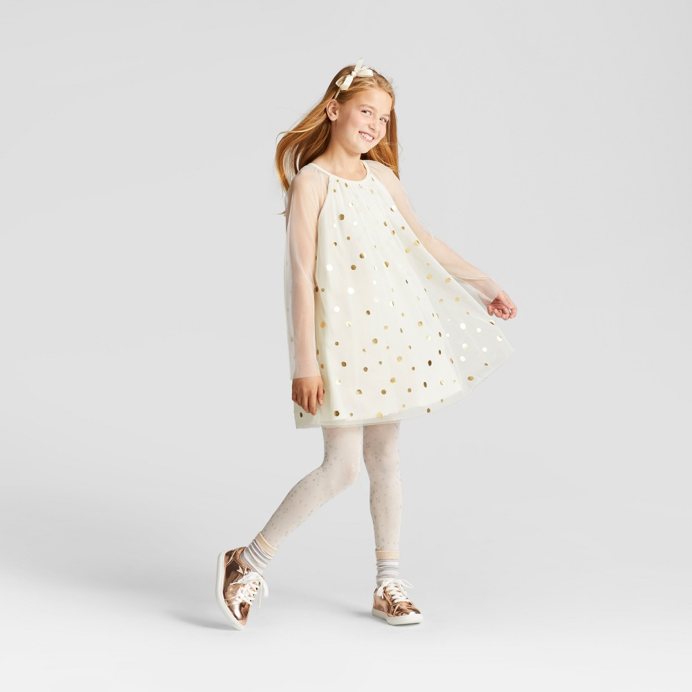 Plus Size Girls Gold Shine Dress - Cat & Jack Cream L Plus, White