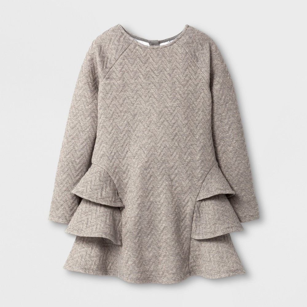 Girls Ruffle Dress - Cat & Jack Heather Gray/Gold M