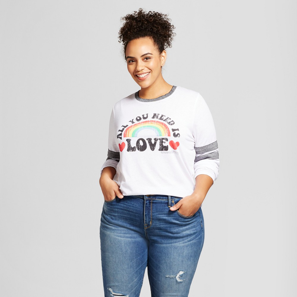 Women's Plus Size Lennon McCartney Long Sleeve All You Need Is Love Varsity Graphic T-Shirt White 3X