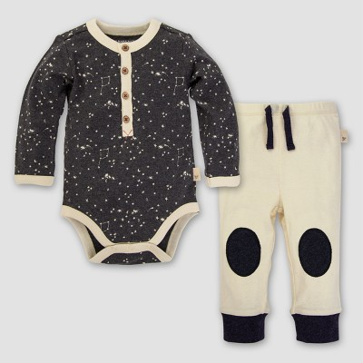 Baby Boys' Organic Little Dipper Bodysuit and Pants Set - Burt's Bees Baby Coal Heather 12M