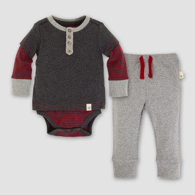 Baby Boys' Organic Henley 2fer Bodysuit and Pants Set - Burt's Bees Baby Coal Heather 0-3M