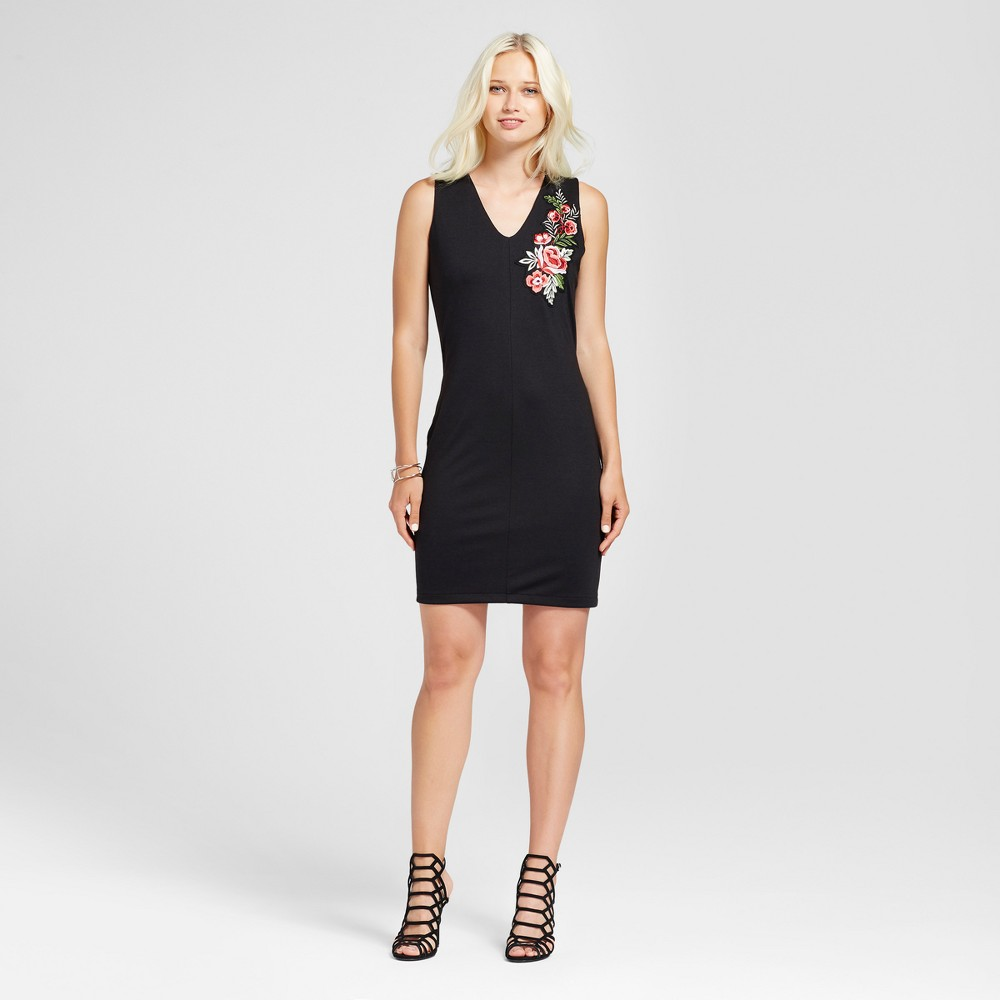 Womens Sleeveless Embroidered Dress - Alison Andrews Black XL