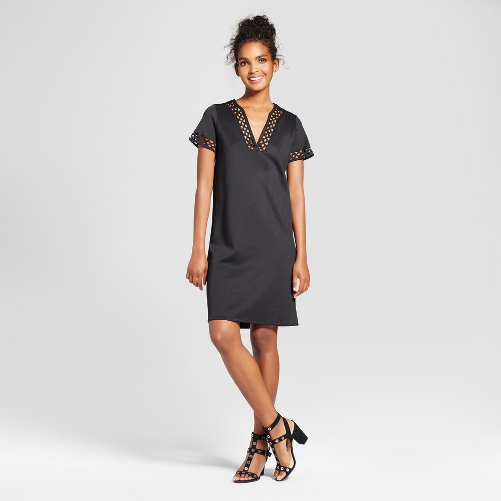 Womens V-Neck Shift Dress with Cut Out Trim - Alison Andrews Black M