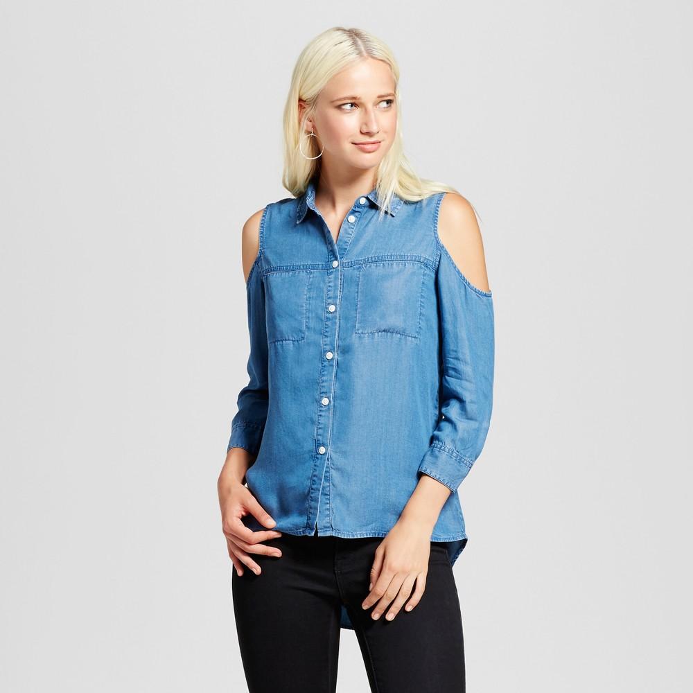Womens 3/4 Sleeve Tencel Cold Shoulder Button Front Top - Alison Andrews Denim Blue M