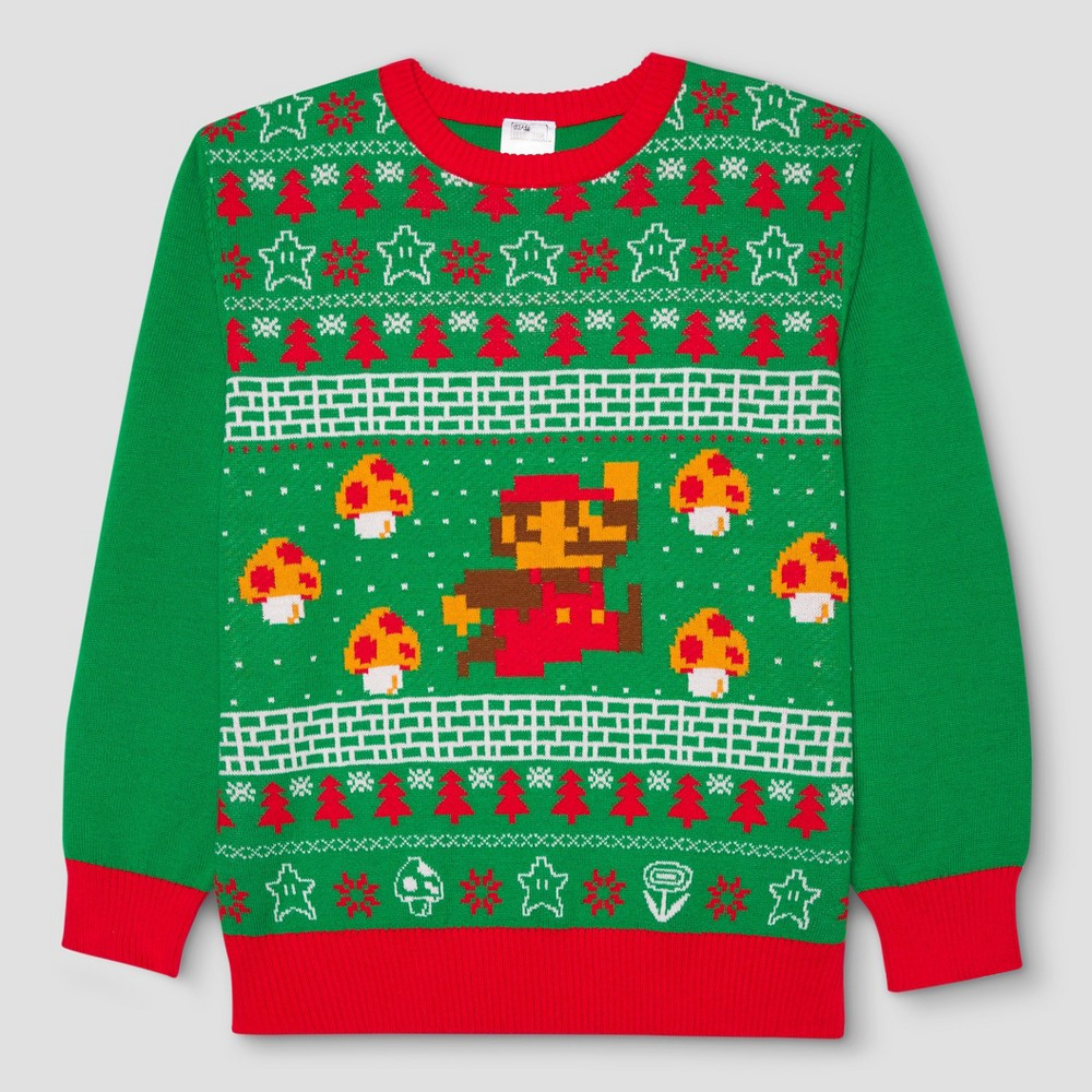 Mens Big & Tall Nintendo Super Mario Ugly Holiday Sweater - Green 5XL