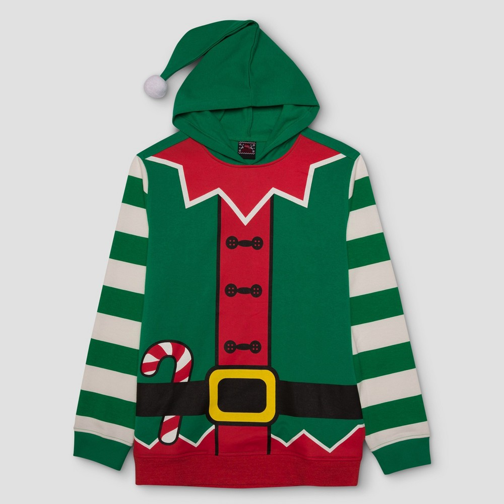 Mens Big & Tall Ugly Holiday Elf with Hood Pullover - Green 3XL, Size: Xxxl