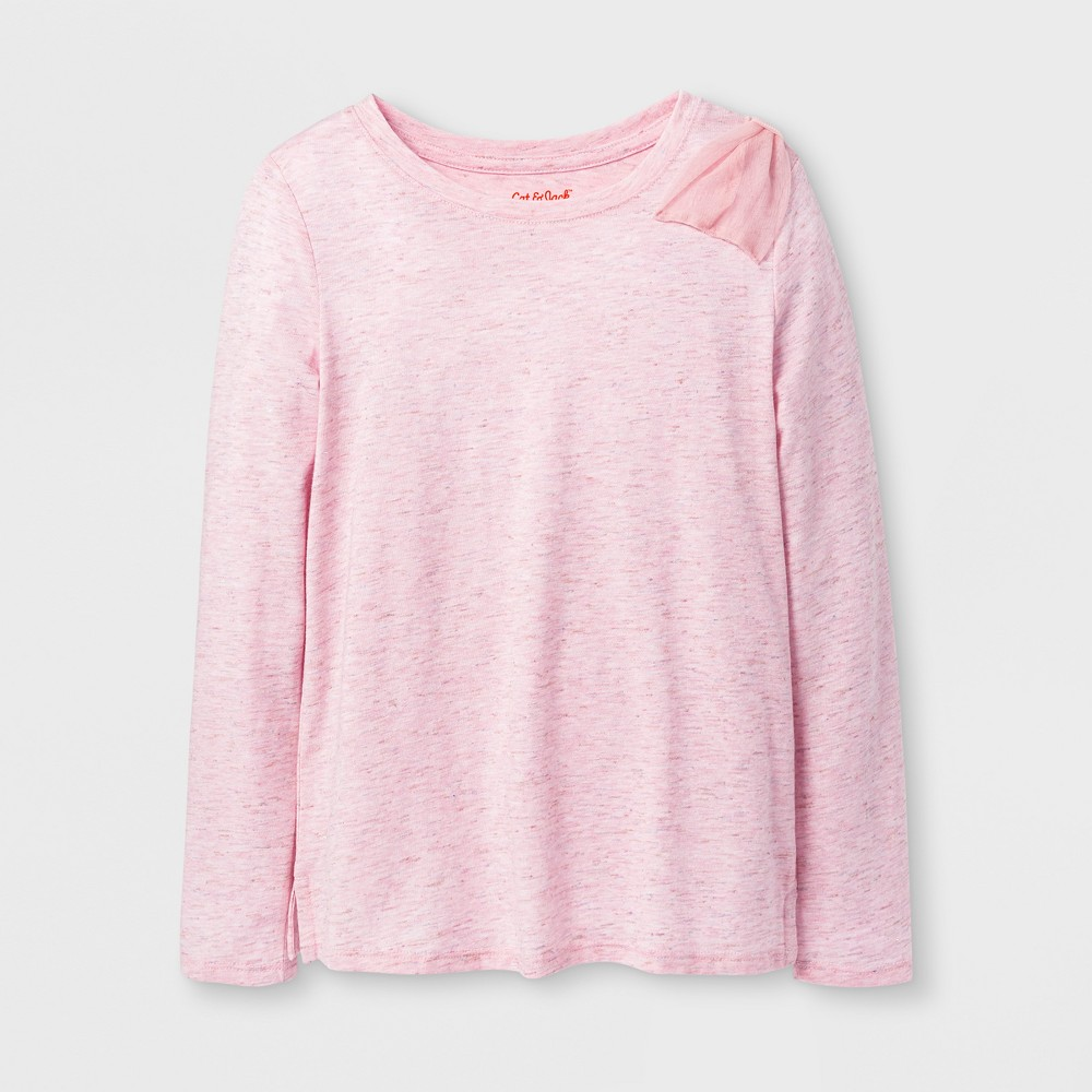 Girls Shine Long Sleeve Bow Top - Cat & Jack Pink XL