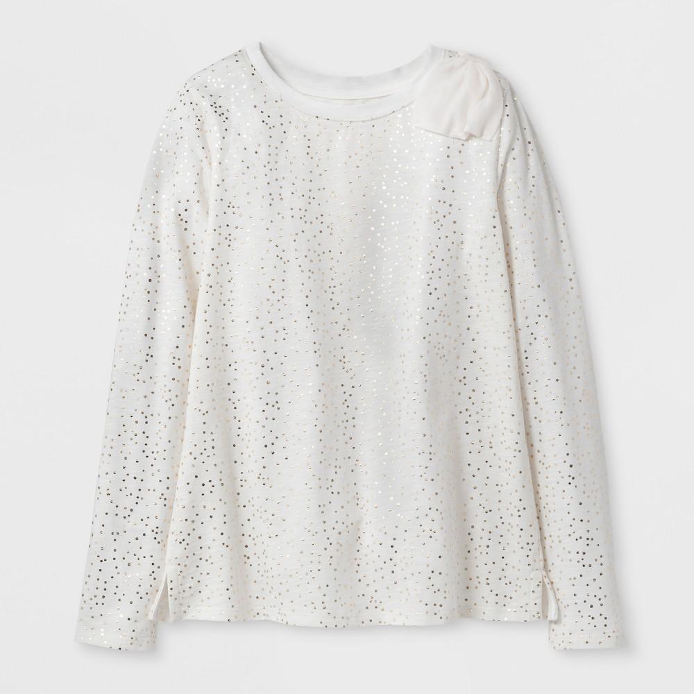 Girls Gold Foil Dot Long Sleeve Bow Top - Cat & Jack Cream L, White