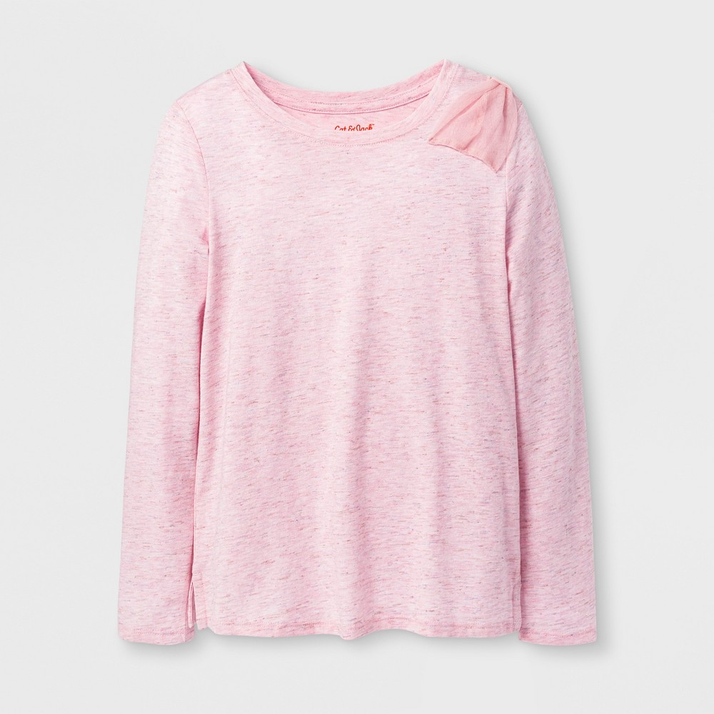 Girls Shine Long Sleeve Bow Top - Cat & Jack Pink M