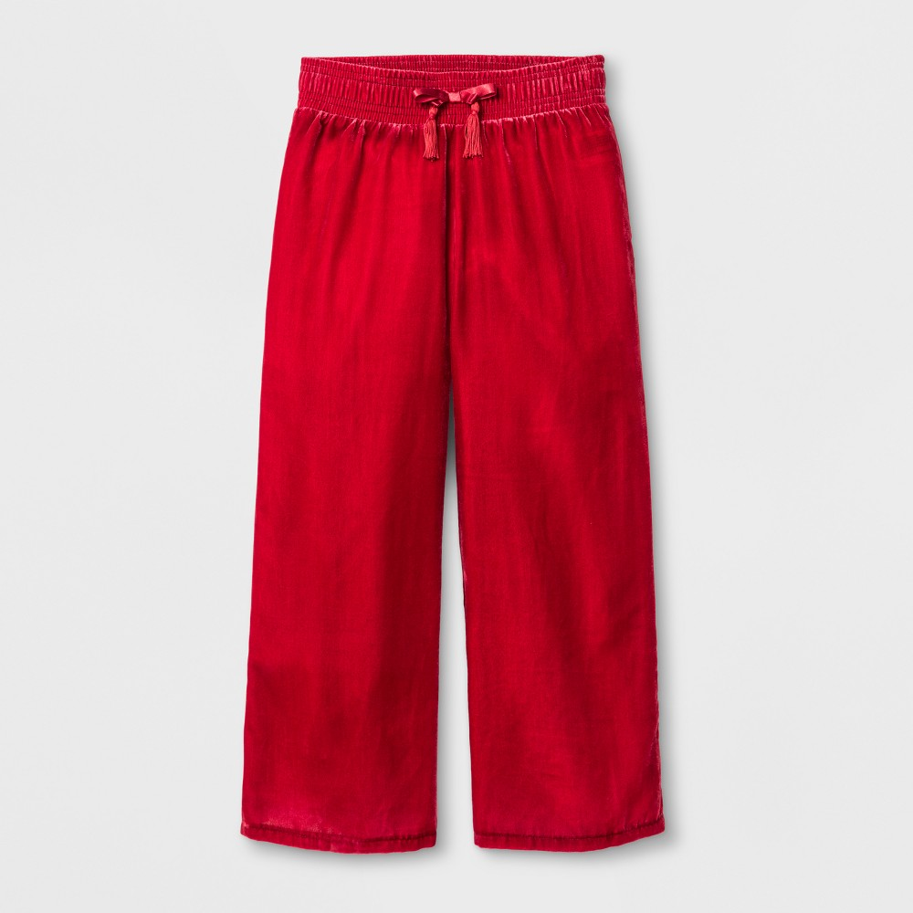 Girls Velvet Wide Leg Fashion Pants - Cat & Jack Red L