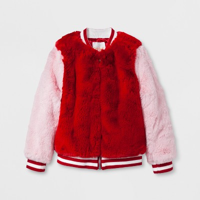 Toddler Girls' Faux Fur Bomber Jacket - Cat & Jack™ Red Velvet 18 M