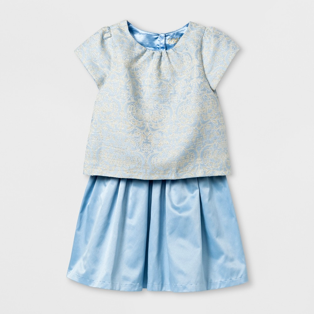 Toddler Girls Brocade Tented Top And Satin Skirt Set - Genuine Kids from OshKosh Lunar Blue 3T