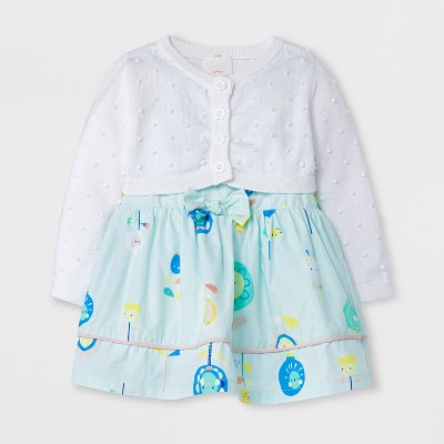 Baby Girls' 2PC Cardigan and Poplin Dress Set - Cat & Jack™ Aqua/White 24 M