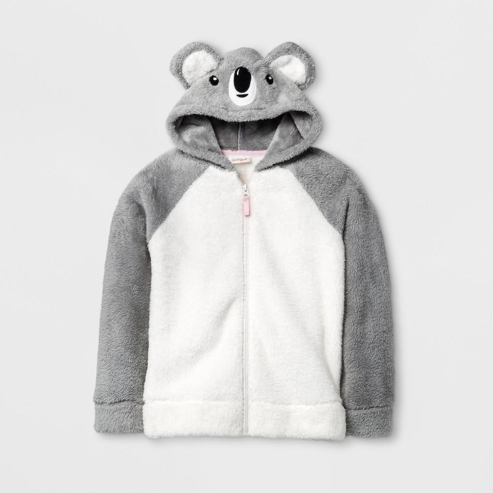 Girls Cozy Koala Hoodie - Cat & Jack Cream XL, White