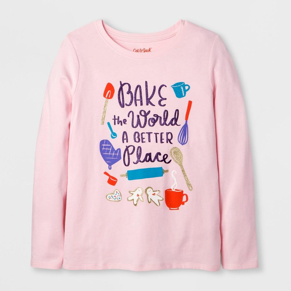 Girls' Long Sleeve Baking Graphic T-Shirt - Cat & Jack Pink M