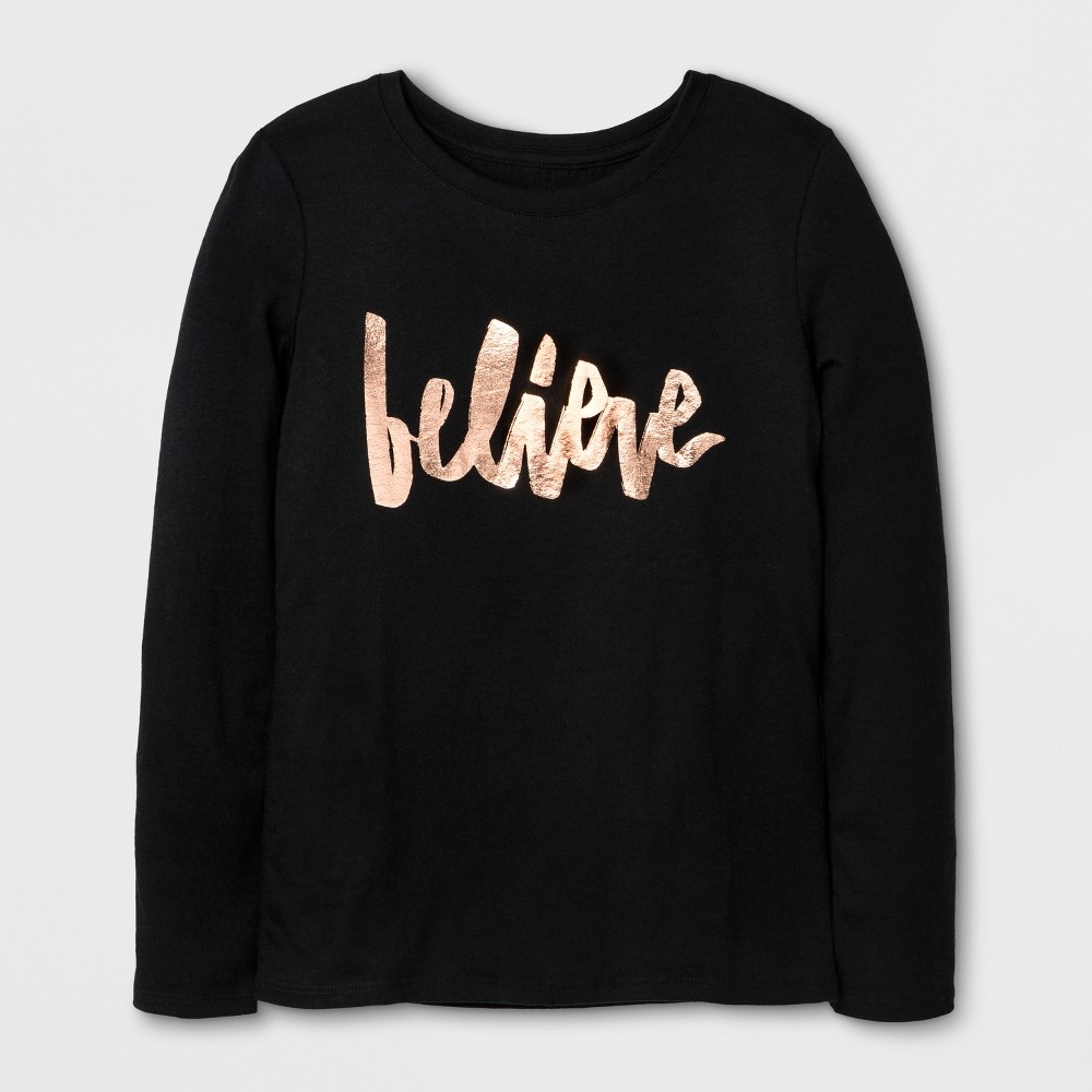 Girls' Long Sleeve Believe Graphic T-Shirt - Cat & Jack Black M