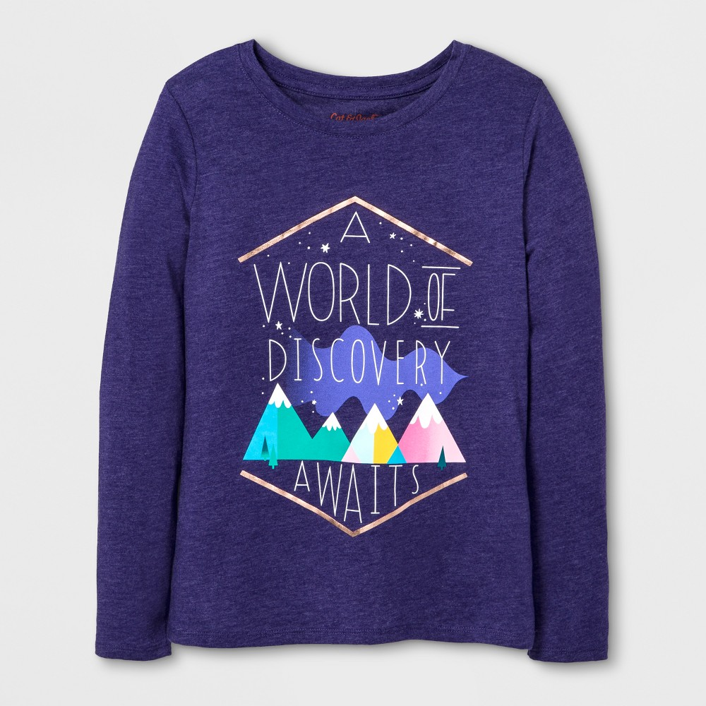 Girls Long Sleeve World of Discovery Graphic T-Shirt - Cat & Jack Purple S