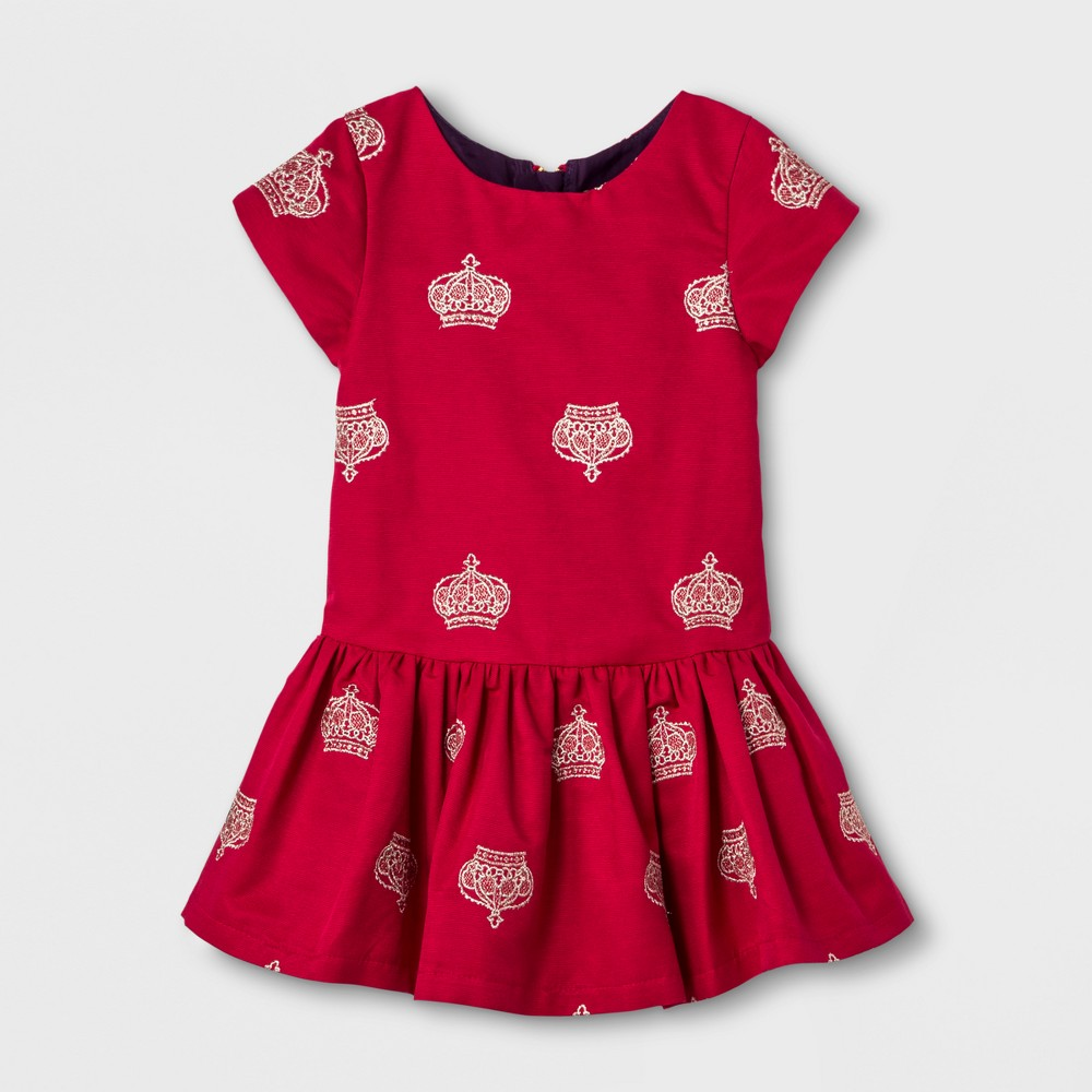 Toddler Girls Embroidered A Line Dress - Genuine Kids from OshKosh Rendezvous Red 4T, Brown