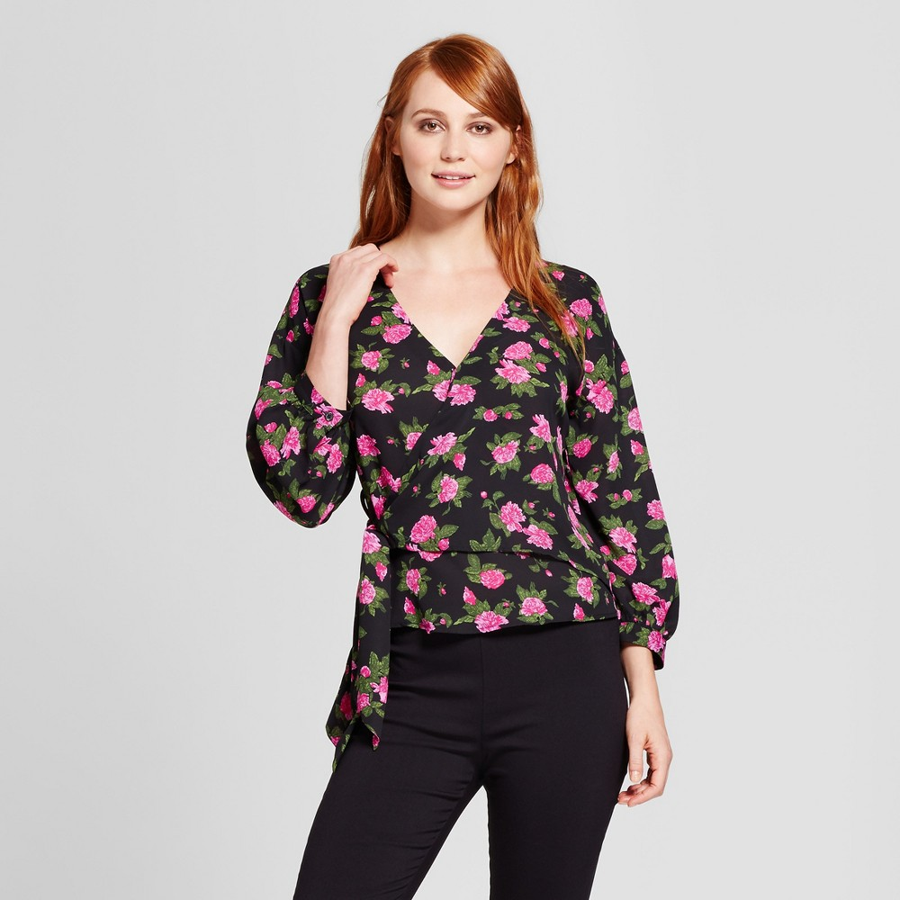 Womens Faux Wrap Blouse - Who What Wear Black Floral S