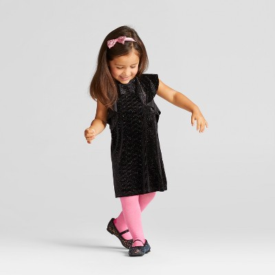 Toddler Girls' Velour Shine Dress - Cat & Jack™ Black 12M