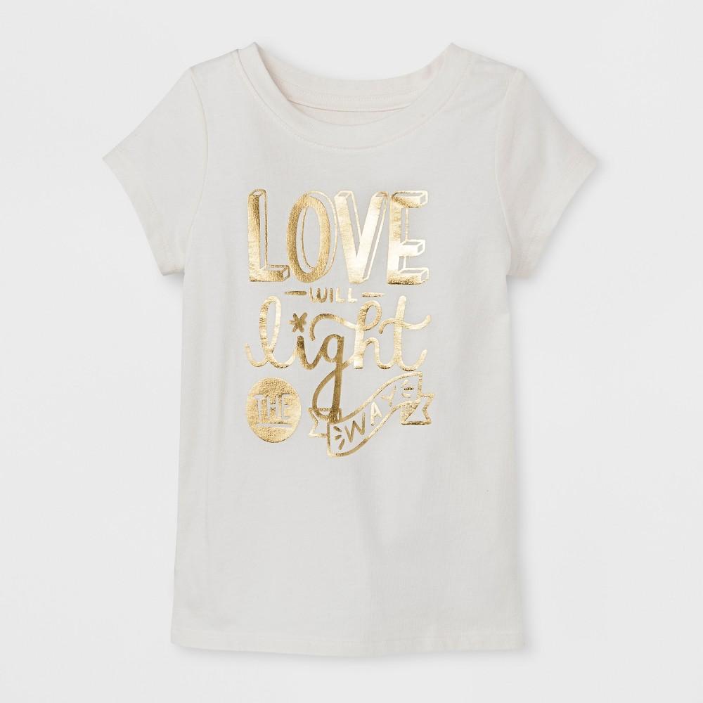T-Shirt Almond Cream 4T, Toddler Girls, White