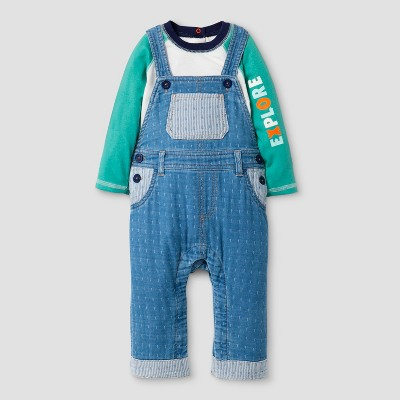 Baby Boys' 2pc Long Sleeve Bodysuit with 'Explore' on Sleeve and Overalls Set - Cat & Jack™ Blue/White 6-9M