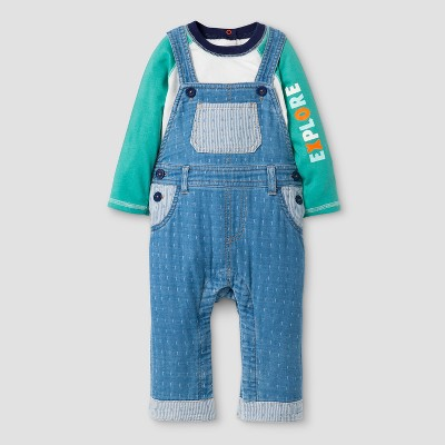 Baby Boys' 2pc Long Sleeve Bodysuit with 'Explore' on Sleeve and Overalls Set - Cat & Jack™ Blue/White NB