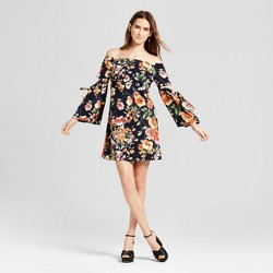 Women's Floral Woven Off the Shoulder Dress with Cutout - Vanity Room®  Navy