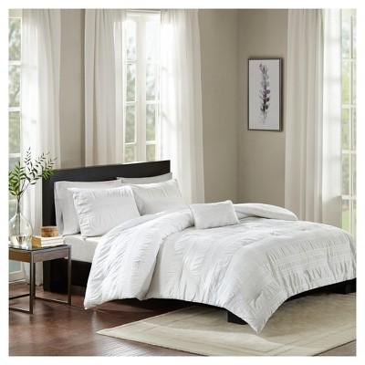 White Amari Cotton Seersucker Comforter Set (King/California King)4pc