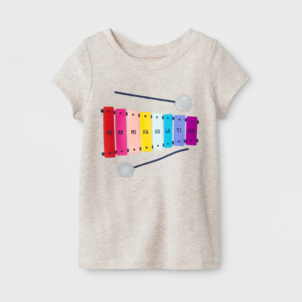 Female T-Shirt Oatmeal Heather 5T, Toddler Girls, Brown