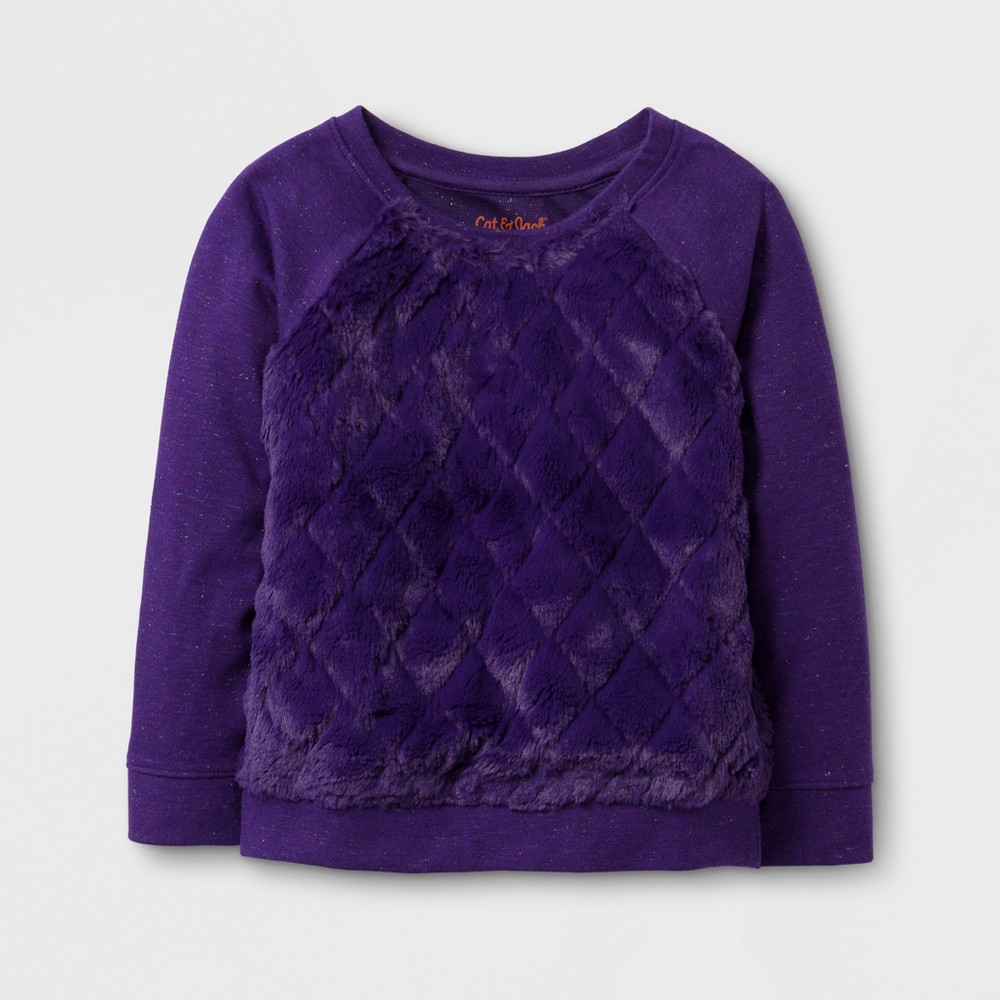 Toddler Girls Fur Quilted Pullover - Cat & Jack Peony Purple 3T