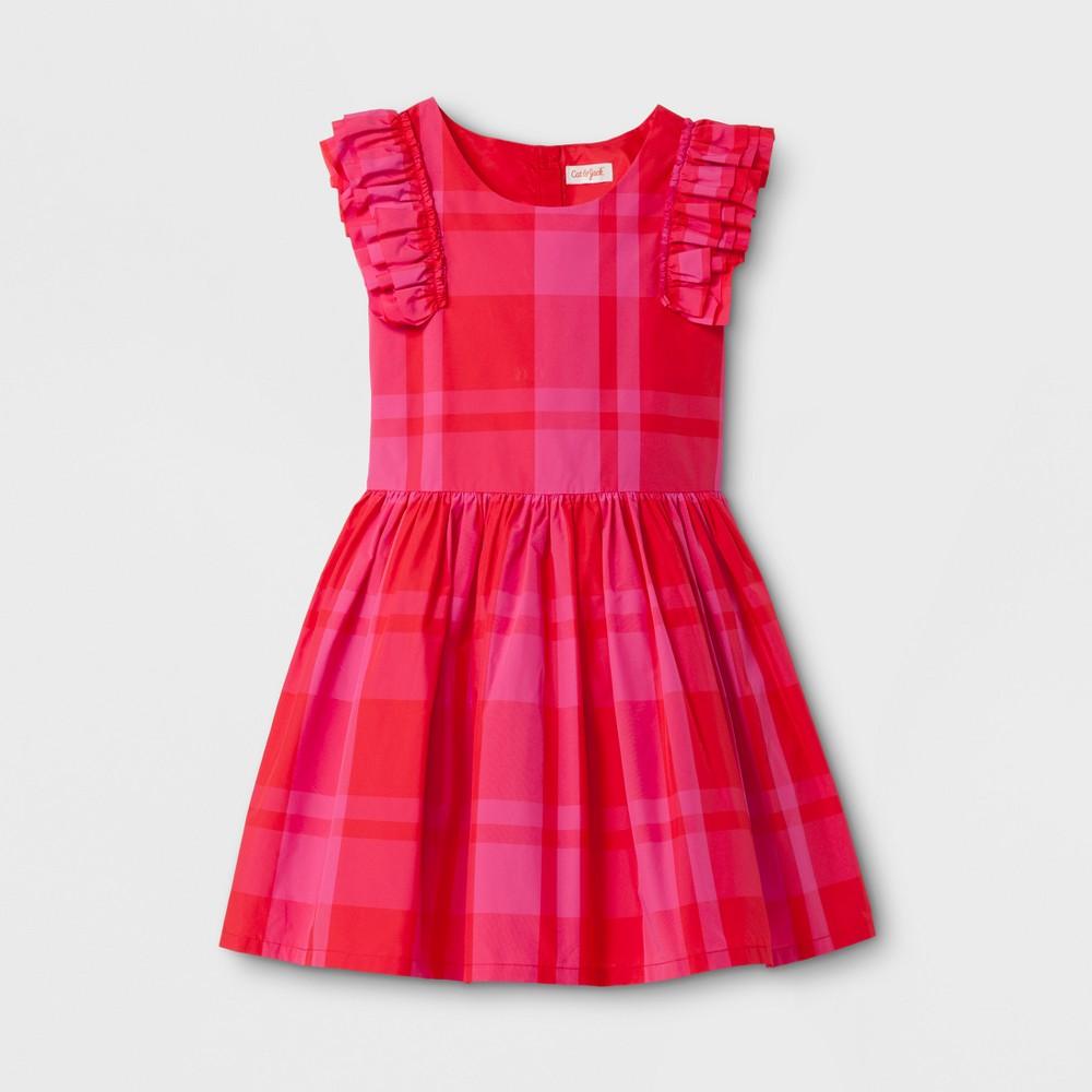 Girls' Plaid Dress - Cat & Jack Pink/Red XL