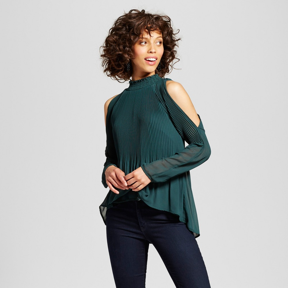 Womens Pleated Mock Neck Cold Shoulder Blouse - Xoxo (Juniors) Green S