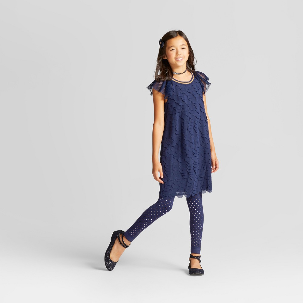 Girls Scallop Dress - Cat & Jack Navy XL, Blue
