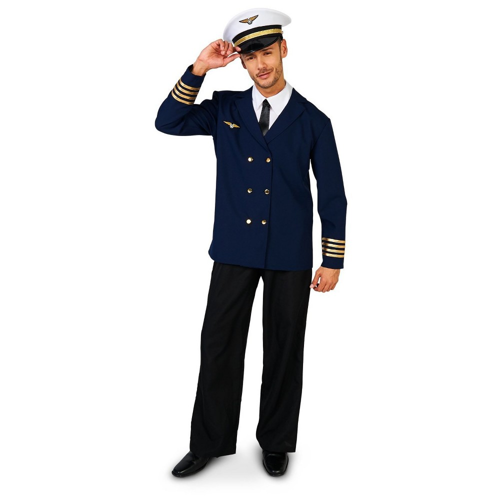 Retro Airline Captain Adult Costume Medium, Mens, Size: Medium/Large, Multicolored