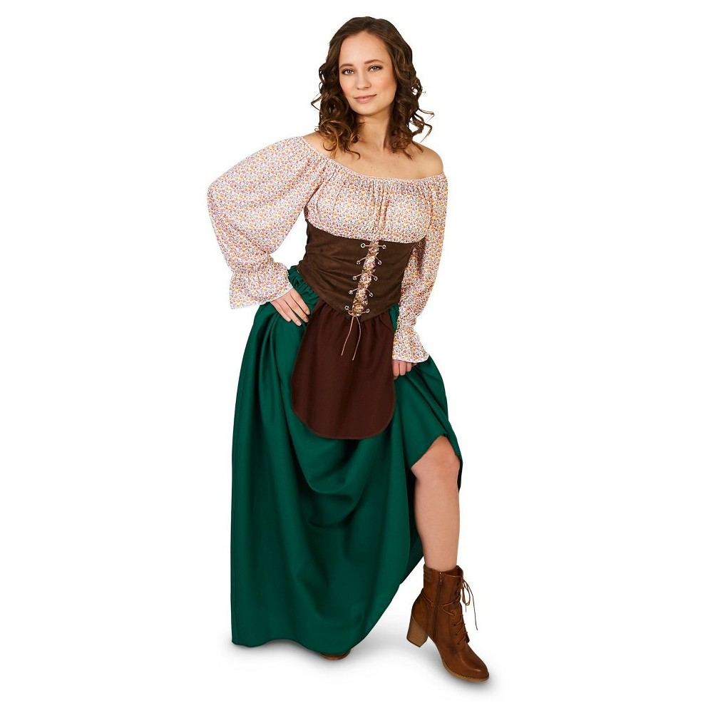 Tavern Maiden Adult Costume Large, Womens, Multicolored