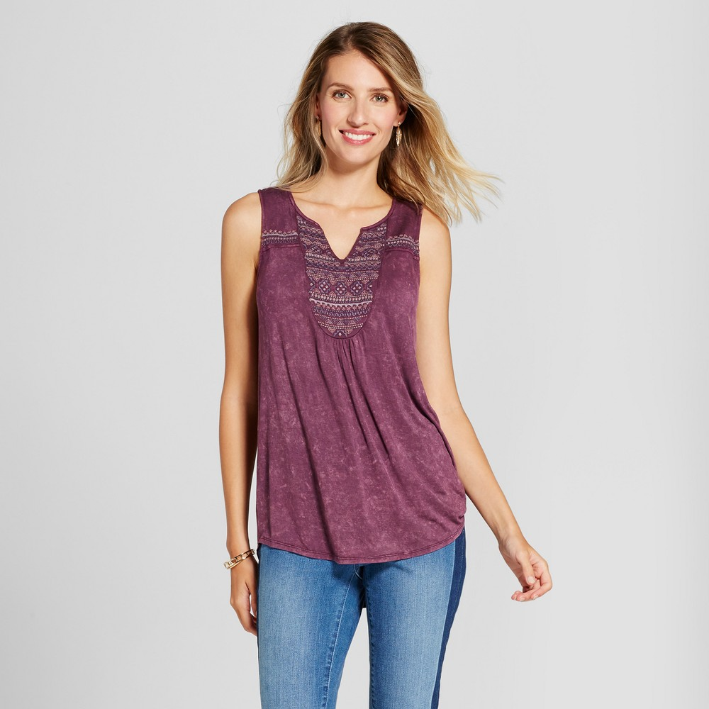Womens Oil Wash Knit Tank with Embellished V-Neck - Knox Rose Purple XS
