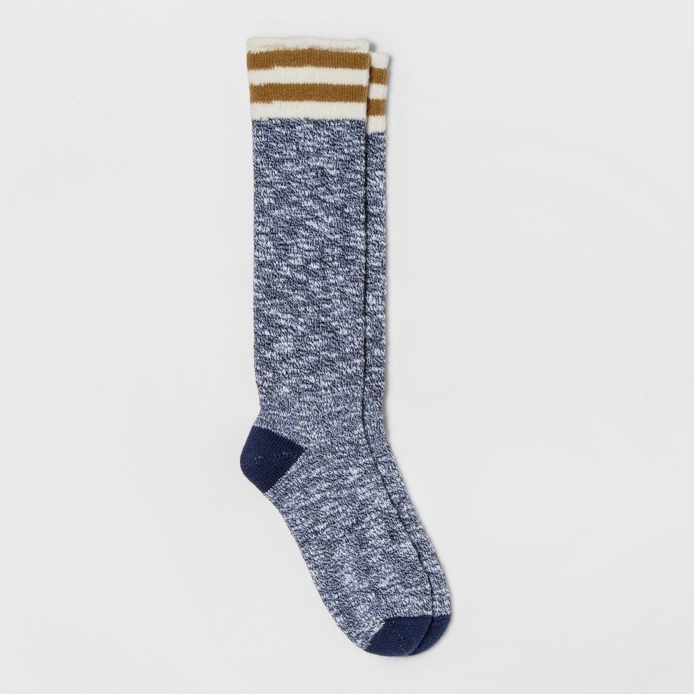 Womens Alaska Knits Athletic Stripe Knee High Sock - Navy (Blue) 4-10