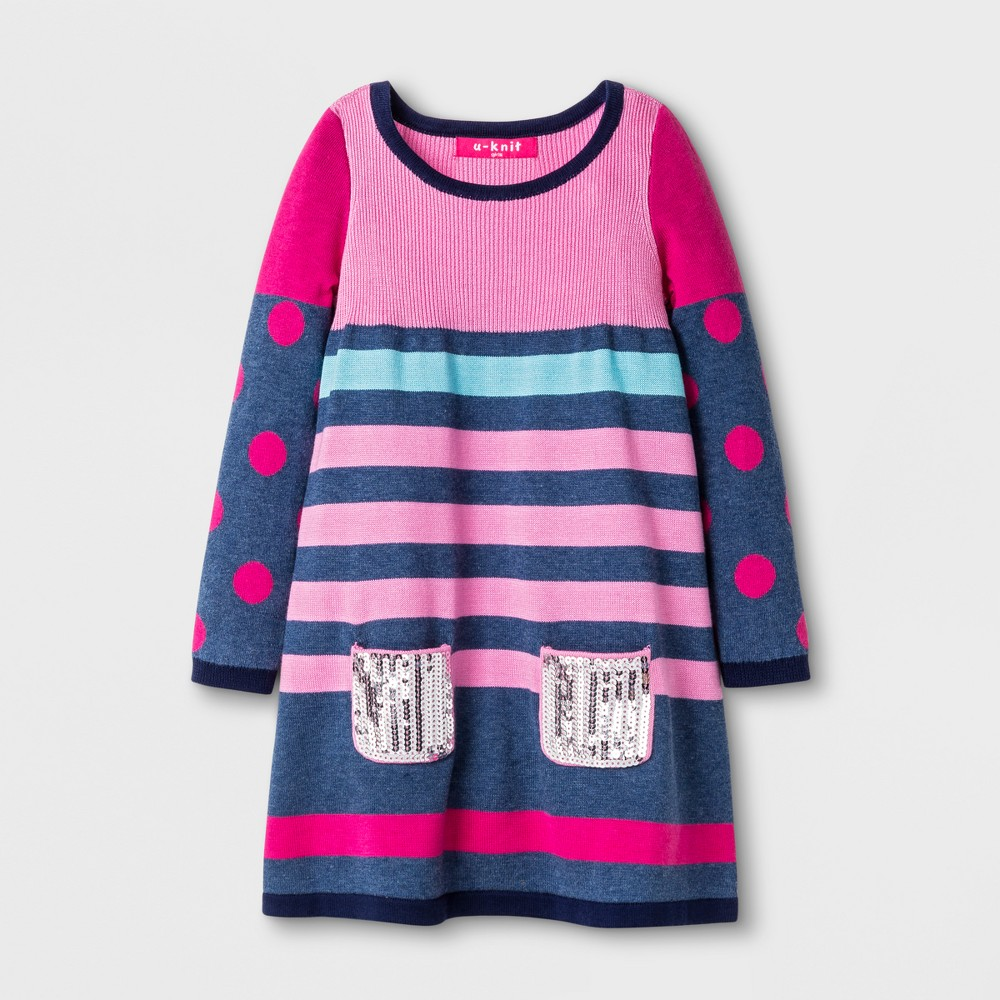 U-Knit Toddler Girls Long Sleeve Sweater Dress - Pink 4T