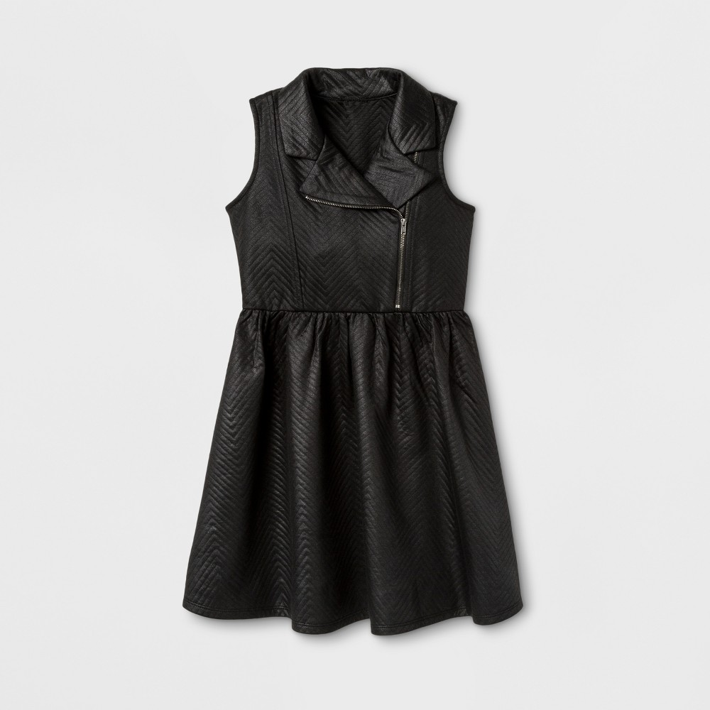 Zenzi Girls Sleeveless Glazed Chevron Moto A Line Dress - Black 12