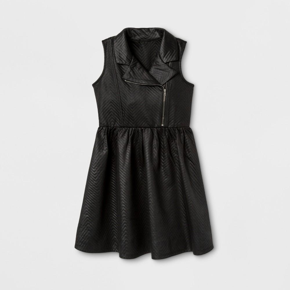 Zenzi Girls Sleeveless Glazed Chevron Moto A Line Dress - Black 8