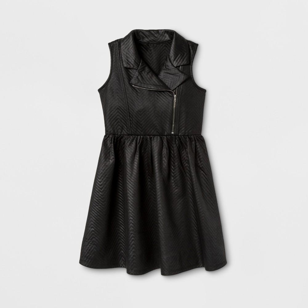 Zenzi Girls Sleeveless Glazed Chevron Moto A Line Dress - Black 10